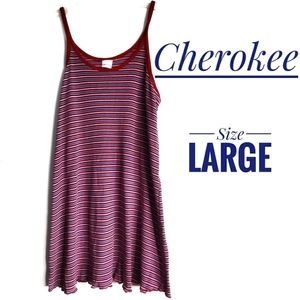 🐞🐞Cherokee red stripe tank summer dress lg